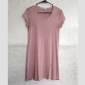 Olivia Rae Striped Tunic Dress pink white size M